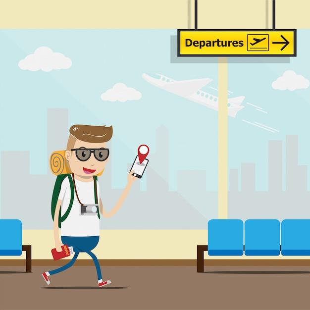 Toeristen gebruiken mobiele applicatie voor inchecken op de luchthaventerminal Premium Vector