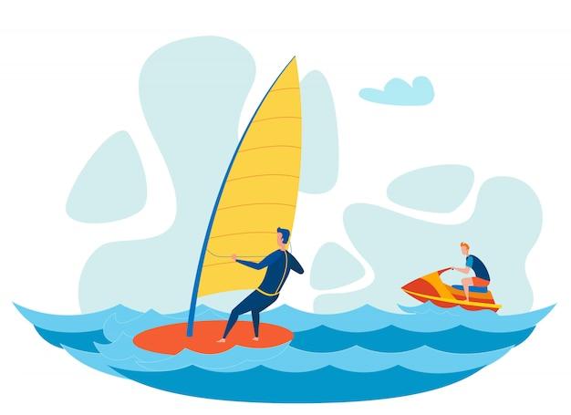 Toeristen water activiteiten platte vectorillustratie Premium Vector