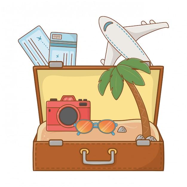 Toeristenreis zomerreizen Premium Vector