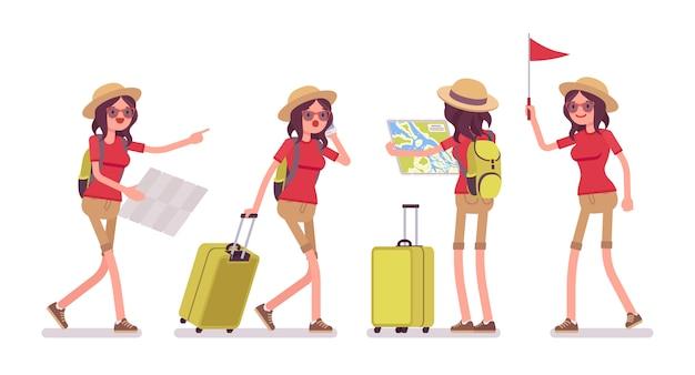 Toeristenvrouw in reissituaties Premium Vector