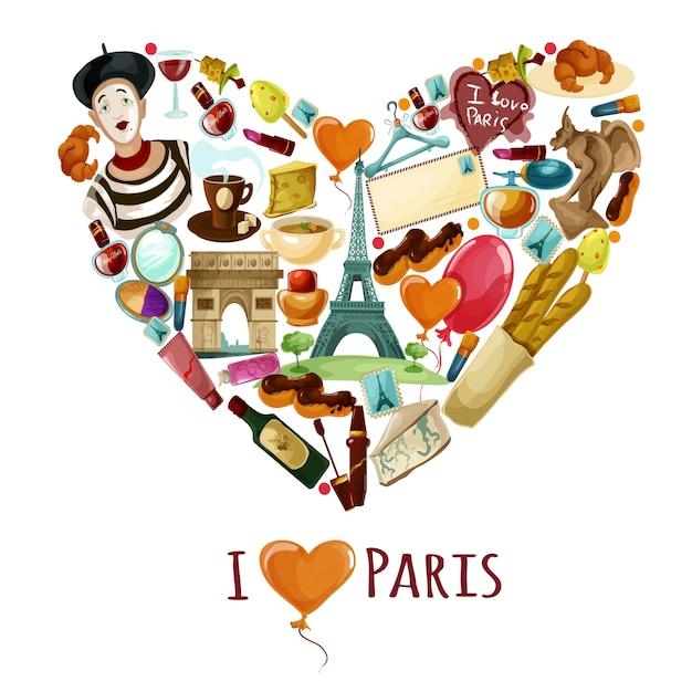Toeristische affiche van parijs Gratis Vector