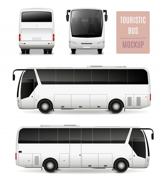 Toeristische bus realistisch adverterend malplaatje Gratis Vector