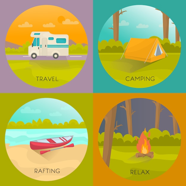 Toeristische campings concept Gratis Vector