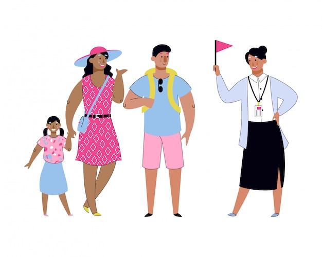 Toeristische familie met gids op zomervakantie Premium Vector