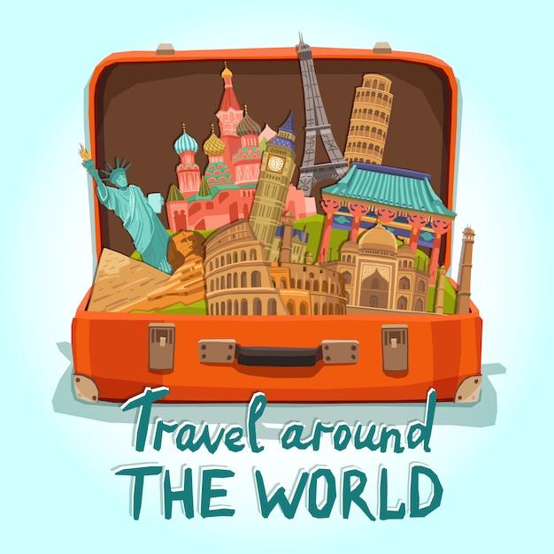 Toeristische koffer illustratie Gratis Vector