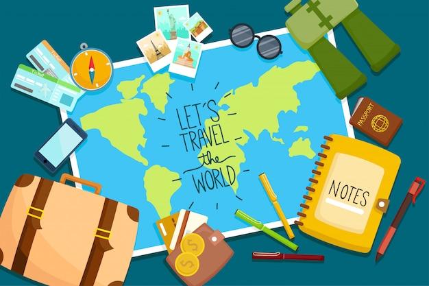 Toeristische set reis rond de wereld. Premium Vector