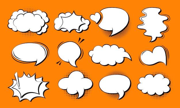 Toespraak bubble komische set. retro cartoon popart 80s-90s ontwerp. toespraak gedachte blobs stripboek. Premium Vector