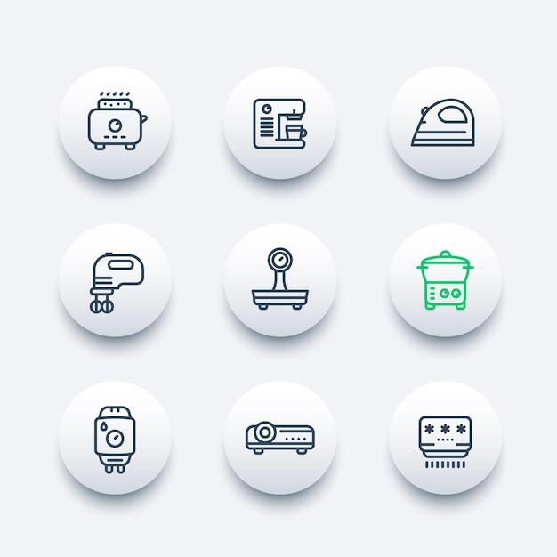Toestellen, consumentenelektronica lijn pictogrammen instellen Premium Vector