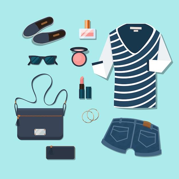 Toevallige jonge vrouwenuitrusting. gumshoes en accessoires, brillen en parfum, handtassen en cosmetica, oorbellen en korte broeken. Gratis Vector