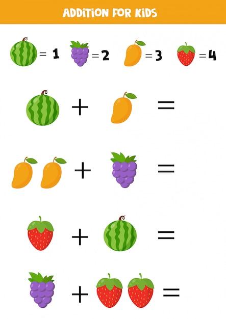 Toevoeging met verschillende cartoonvruchten. educatief wiskundespel voor kinderen. basisalgebra. afdrukbaar werkblad om te leren tellen. los de vergelijkingen op en schrijf het antwoord op. Premium Vector