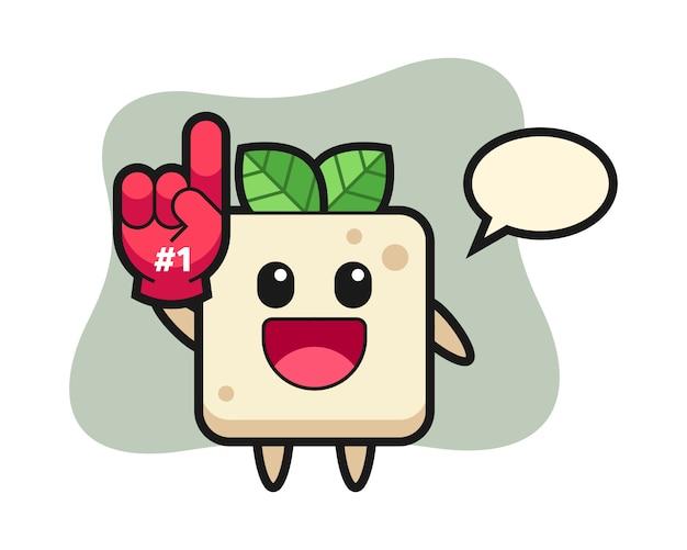 Tofu illustratie cartoon met nummer 1 fans handschoen, schattig stijlontwerp voor t-shirt Premium Vector