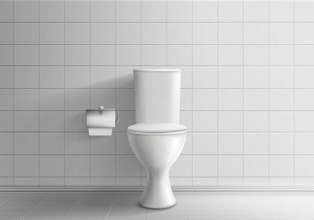 Toilerruimte minimalistic binnenland met betegelde muur en vloer 3d realistisch vectormodel Gratis Vector