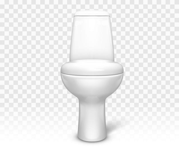 Toilet met zitje. witte keramische toiletpot Gratis Vector