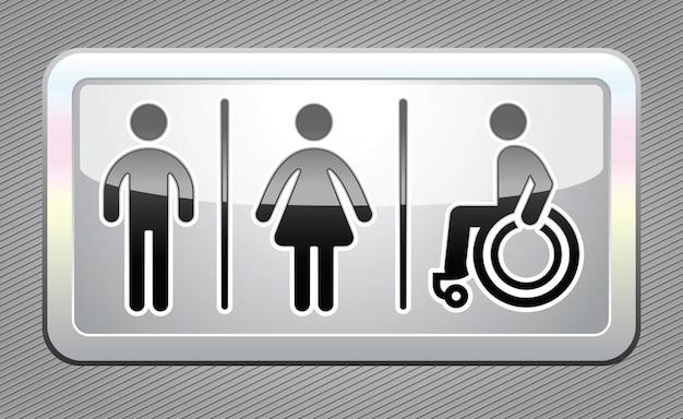 Toilet symbolen, grote grijze knop Premium Vector
