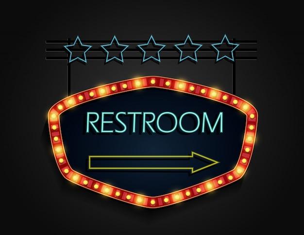 Toilet uithangbord retro stijl met lampen vector premium download