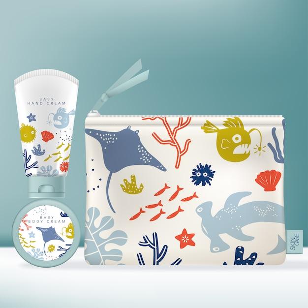 Toiletartikelen dispenser-fles voor schoonheid of huidverzorgingsproduct. kinderen of kinderen onderwaterwereld themapatroon. Premium Vector