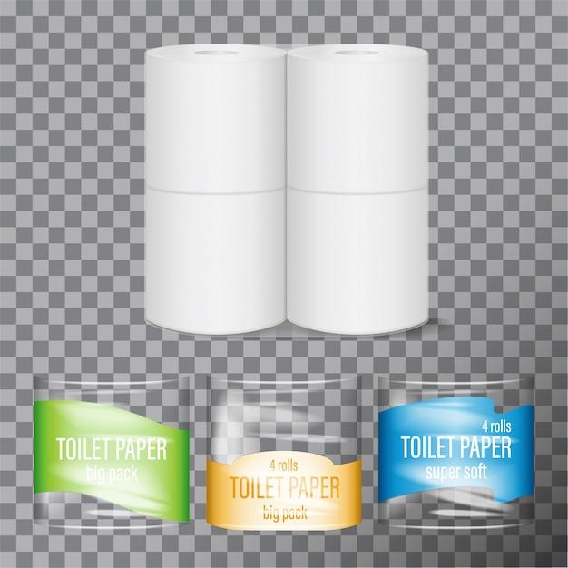 Toiletpapier pack. superzachte toiletpapier plastic verpakking. 4 rollen natuurlijk cellulosepapier binnenin. productmodel met hygiënemerk Premium Vector