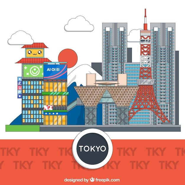 Tokyo gebouwen Gratis Vector