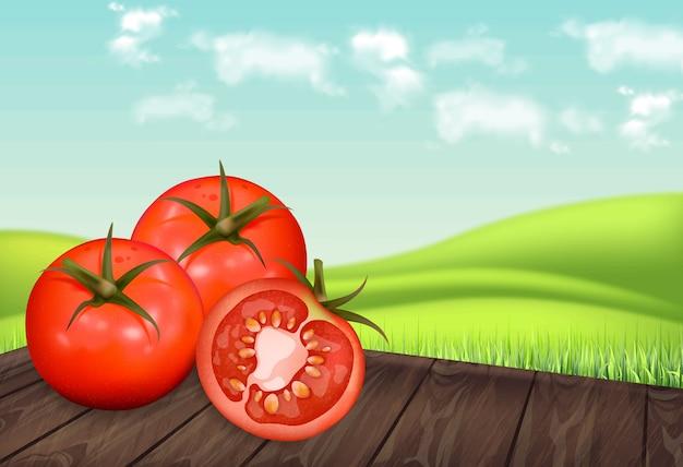 Tomaten op houten tafel Premium Vector