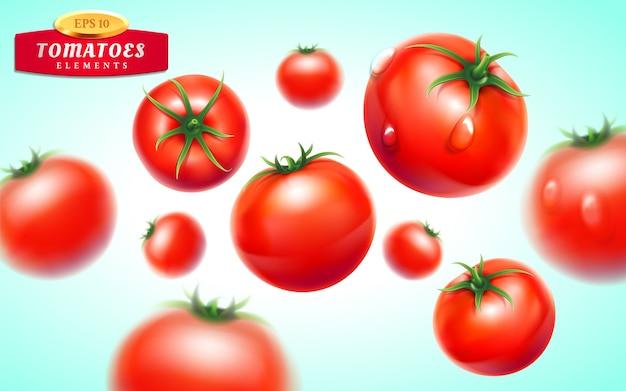 Tomaten set. gedetailleerde realistische rode rijpe verse tomaten met groene bladeren met waterdruppeltjes Premium Vector