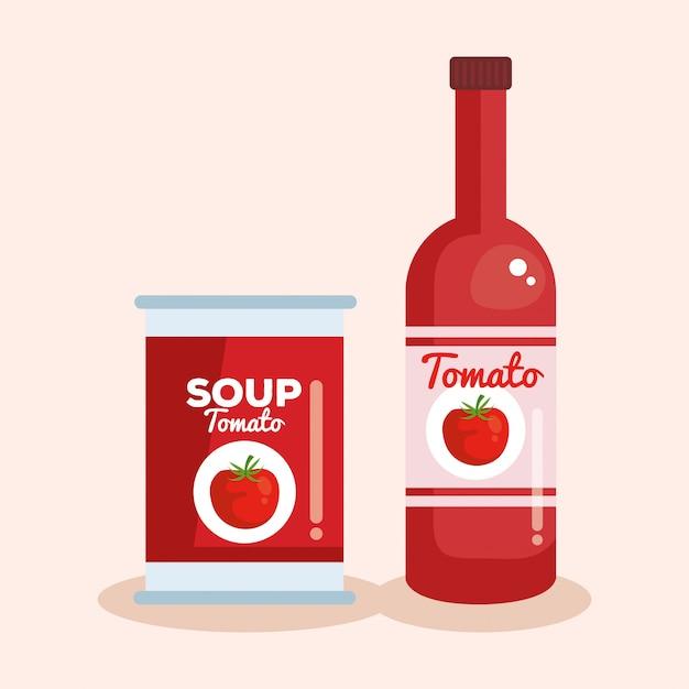 Tomatenketchup en soep Gratis Vector
