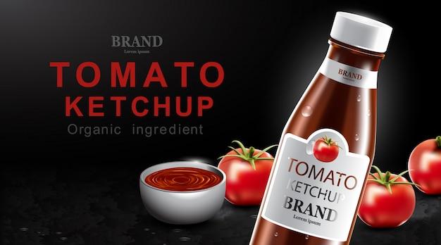 Tomatenketchup met vers fruit Premium Vector