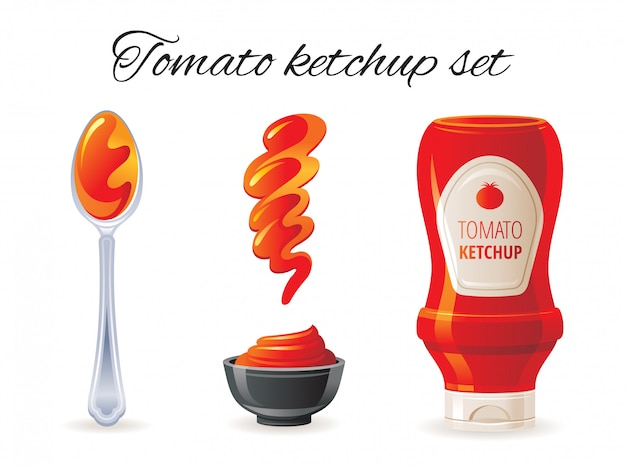 Tomatenketchup saus pictogrammenset met hete saus fles, kom, lepel, splash. Premium Vector