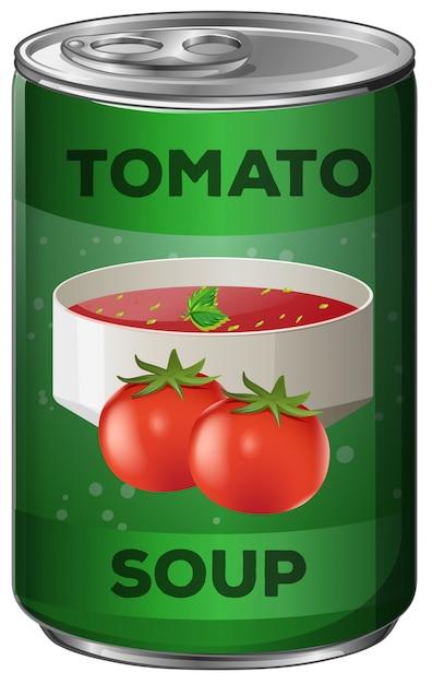 Tomatensoep in aluminium blik Gratis Vector