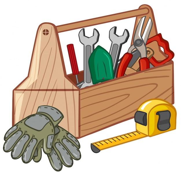 Toolbox met veel tools Gratis Vector