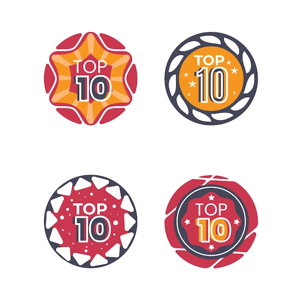 Top 10 badgescollectie Gratis Vector
