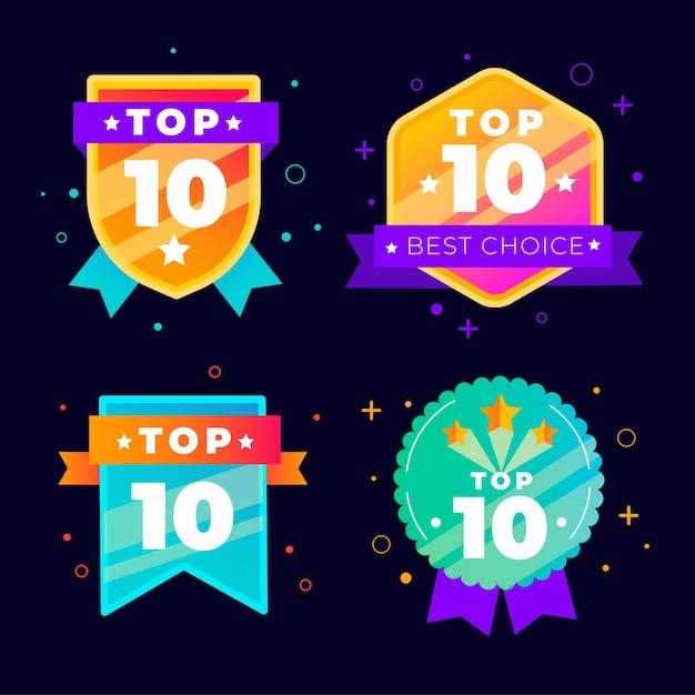 Top 10 badgescollectie Premium Vector