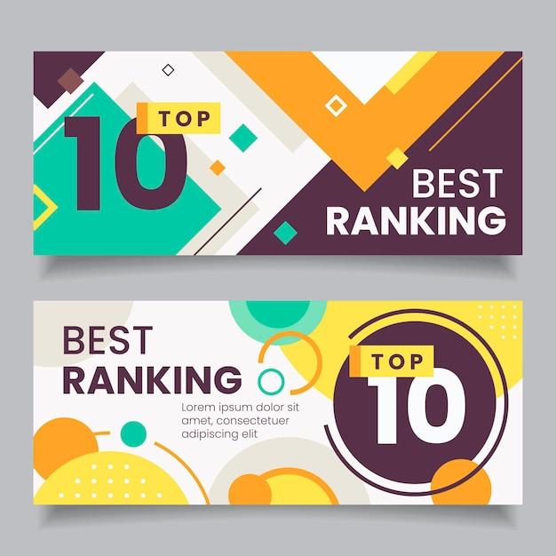 Top 10 beoordelingsbanners Gratis Vector