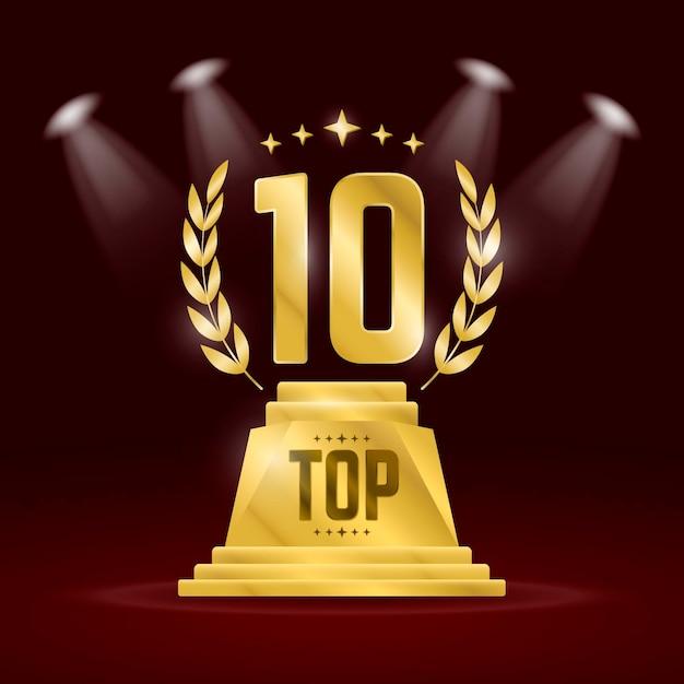 Top 10 beste podiumprijs Premium Vector