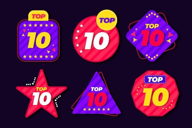 Top 10 labelsjabloon Gratis Vector