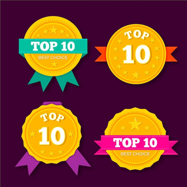 Top 10 labelsjabloon Gratis Vector