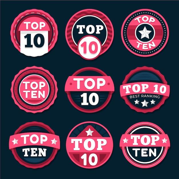 Top tien badges-collectie Gratis Vector