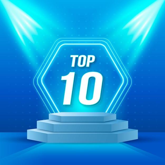 Top tien beste podiumprijs Gratis Vector