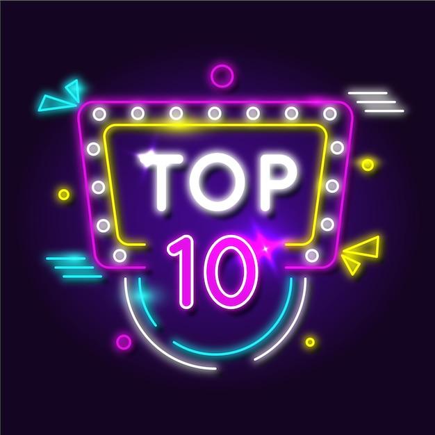 Top tien concept in neonlichten Gratis Vector