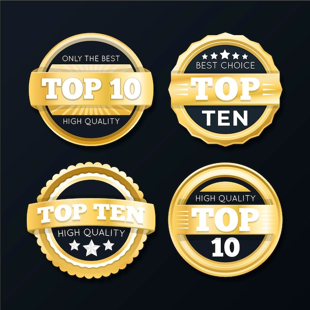 Top tien labels-collectie Gratis Vector