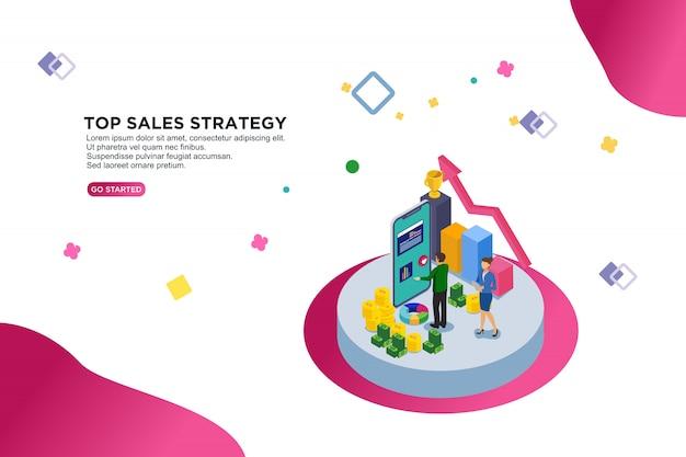 Top verkoopstrategie Premium Vector