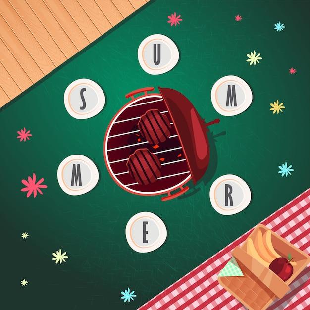 Top weergave zomer posterontwerp Premium Vector