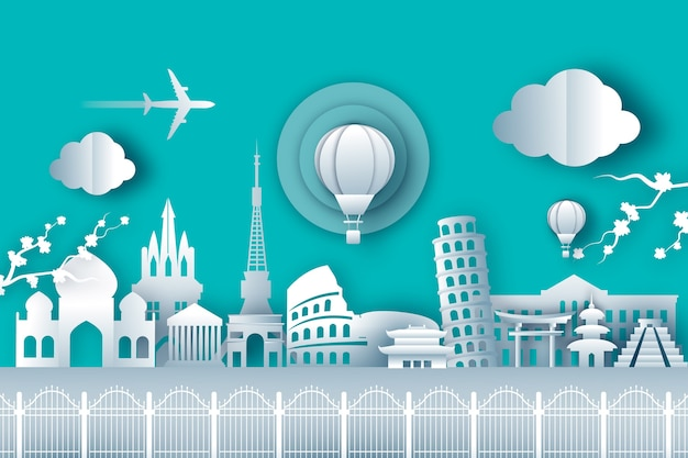 Top wereldberoemde bezienswaardigheden voor reizen in papieren stijl Gratis Vector