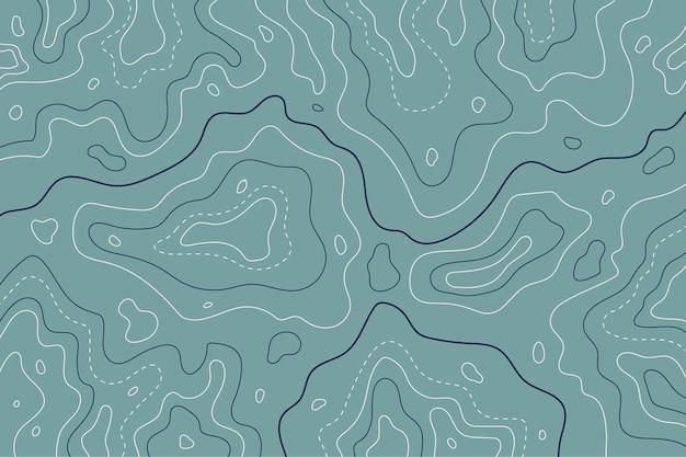 Topografische kaart contourlijnen blauwe tinten Gratis Vector