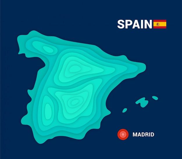 Topografische kaart van spanje. 3d-cartografie concept Premium Vector
