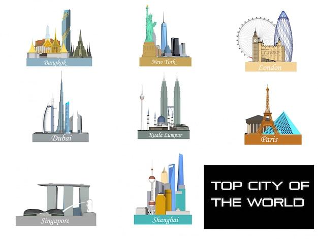 Topsteden in de wereld Premium Vector
