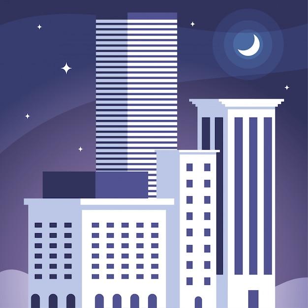 Torens van appartementen en kantoorgebouw, stedelijk landschap Premium Vector