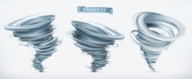 Tornado. 3d-set Premium Vector