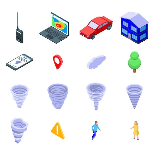 Tornado iconen set, isometrische stijl Premium Vector
