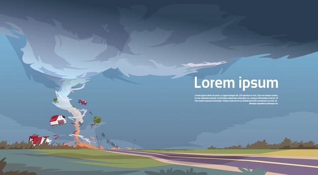 Tornado in platteland orkaanlandschap van storm waterspout twister in het concept van de gebieds natuurramp Premium Vector