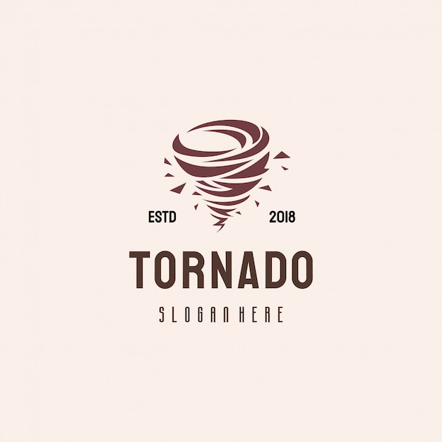 Tornado-logo ontwerp, typhoon logo sjabloon concept Premium Vector